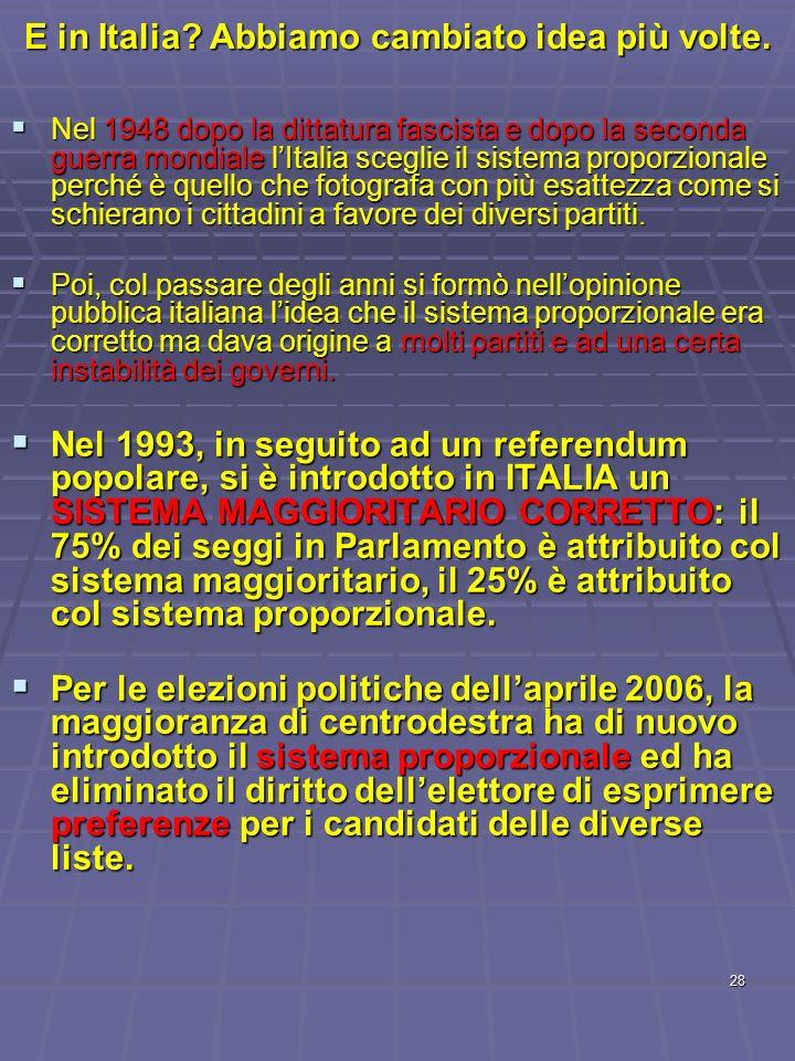 E in Italia Abbiamo cambiato idea più volte.