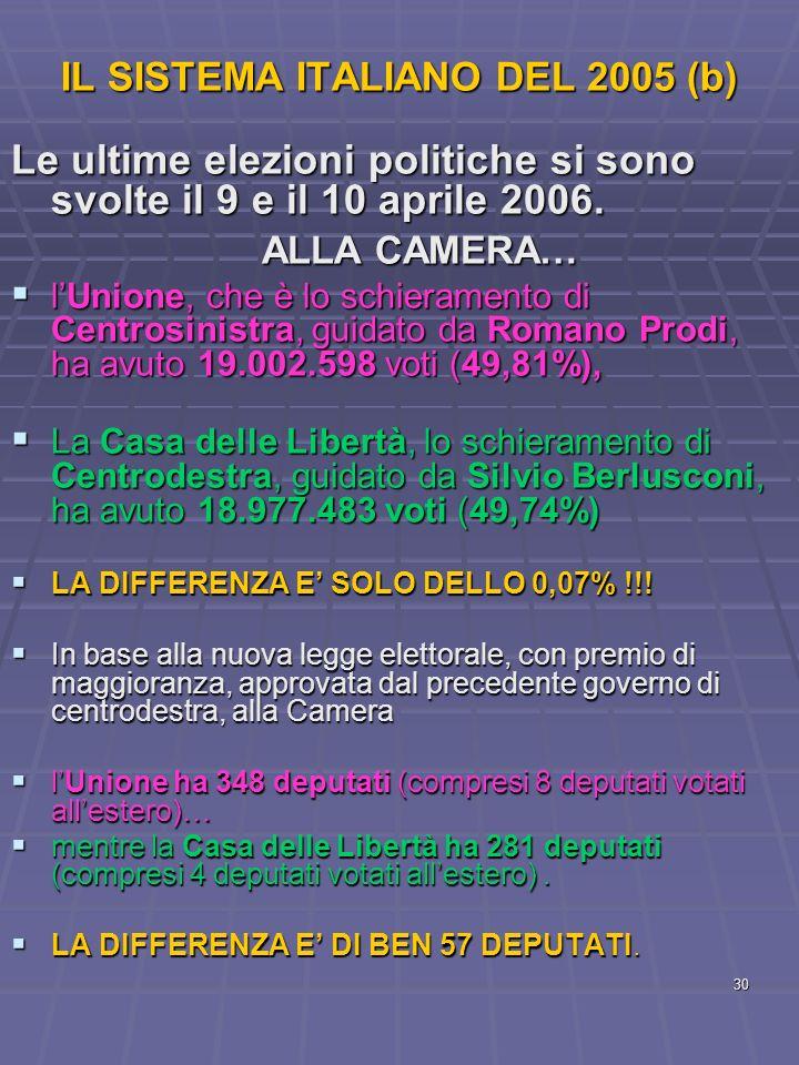 IL SISTEMA ITALIANO DEL 2005 (b)