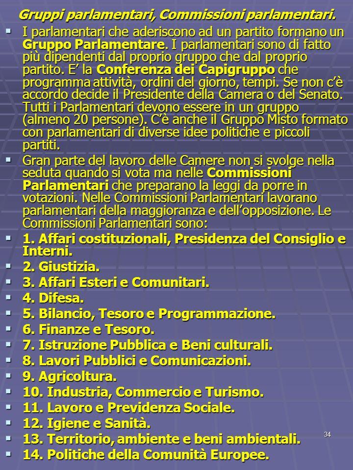 Gruppi parlamentari, Commissioni parlamentari.