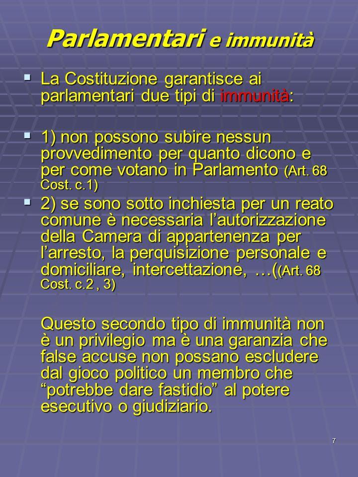 Parlamentari e immunità