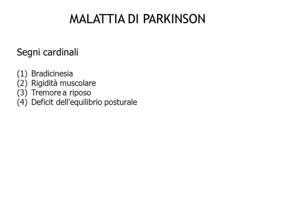 MALATTIA DI PARKINSON Segni cardinali Bradicinesia Rigidità muscolare