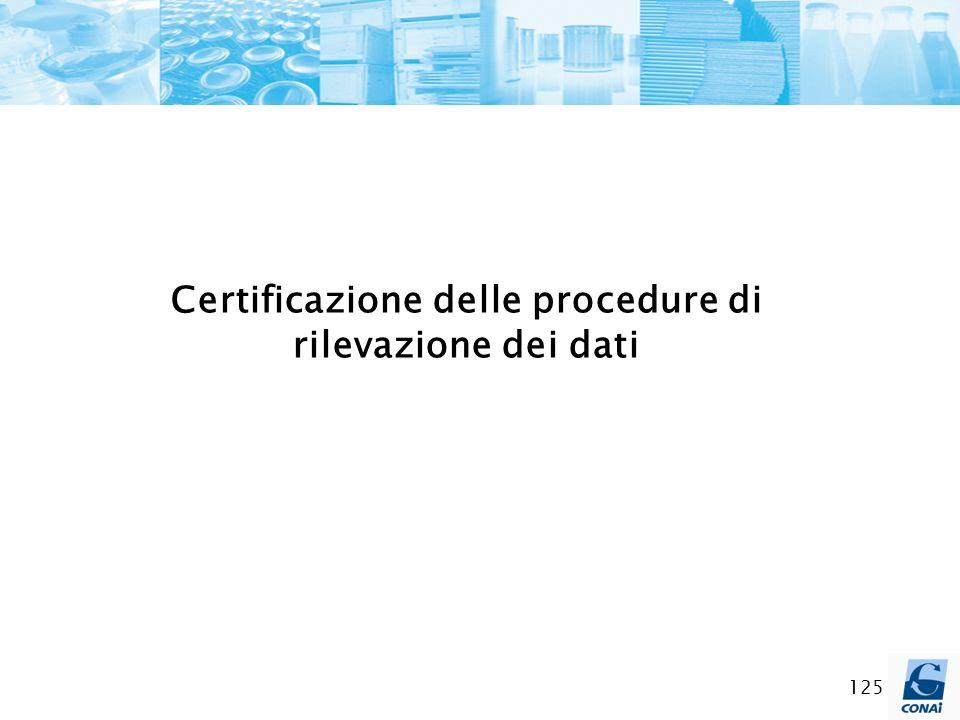 Certificazione delle procedure di rilevazione dei dati
