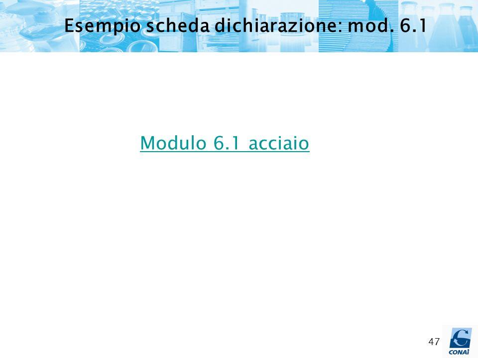 Esempio scheda dichiarazione: mod. 6.1