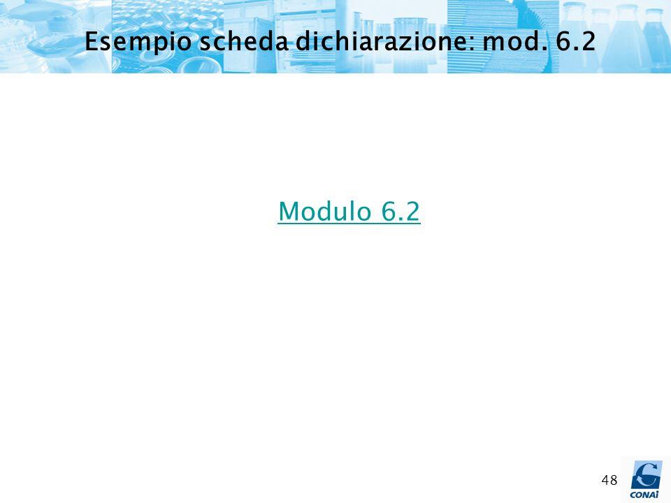 Esempio scheda dichiarazione: mod. 6.2