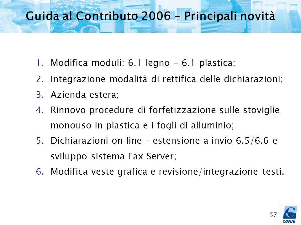 Guida al Contributo 2006 – Principali novità