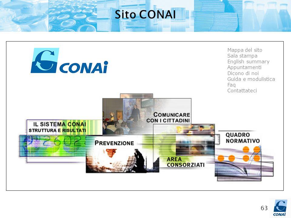 Sito CONAI Mappa del sito Sala stampa English summary Appuntamenti