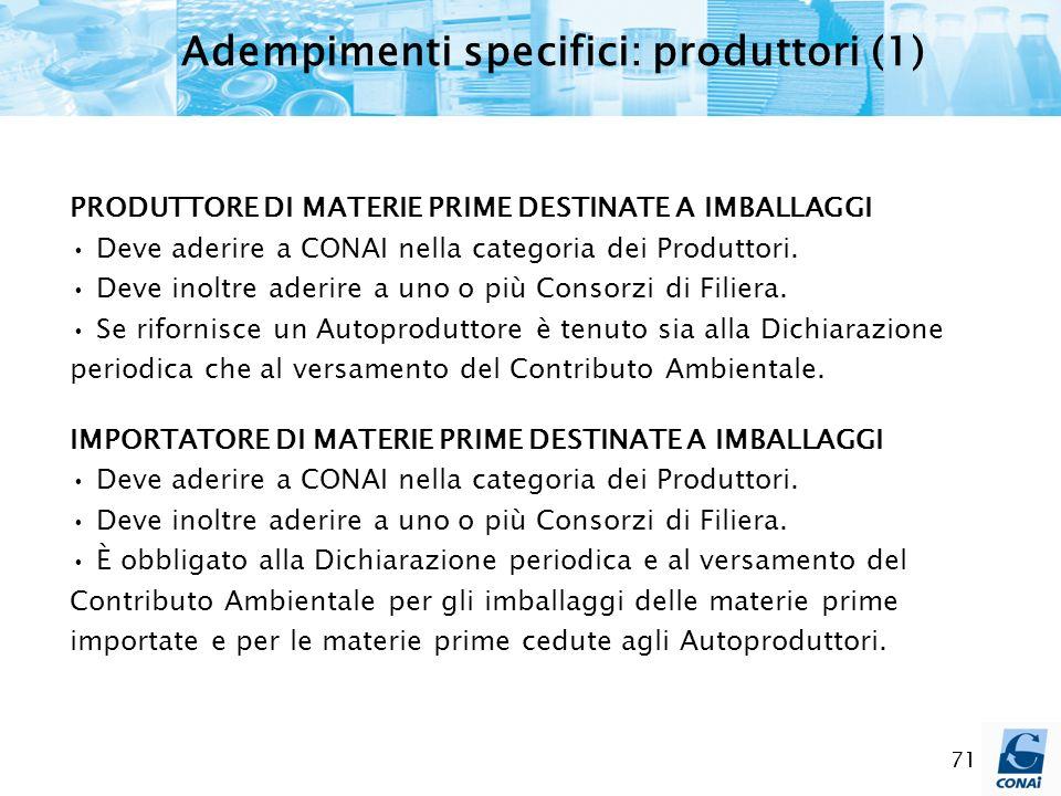 Adempimenti specifici: produttori (1)