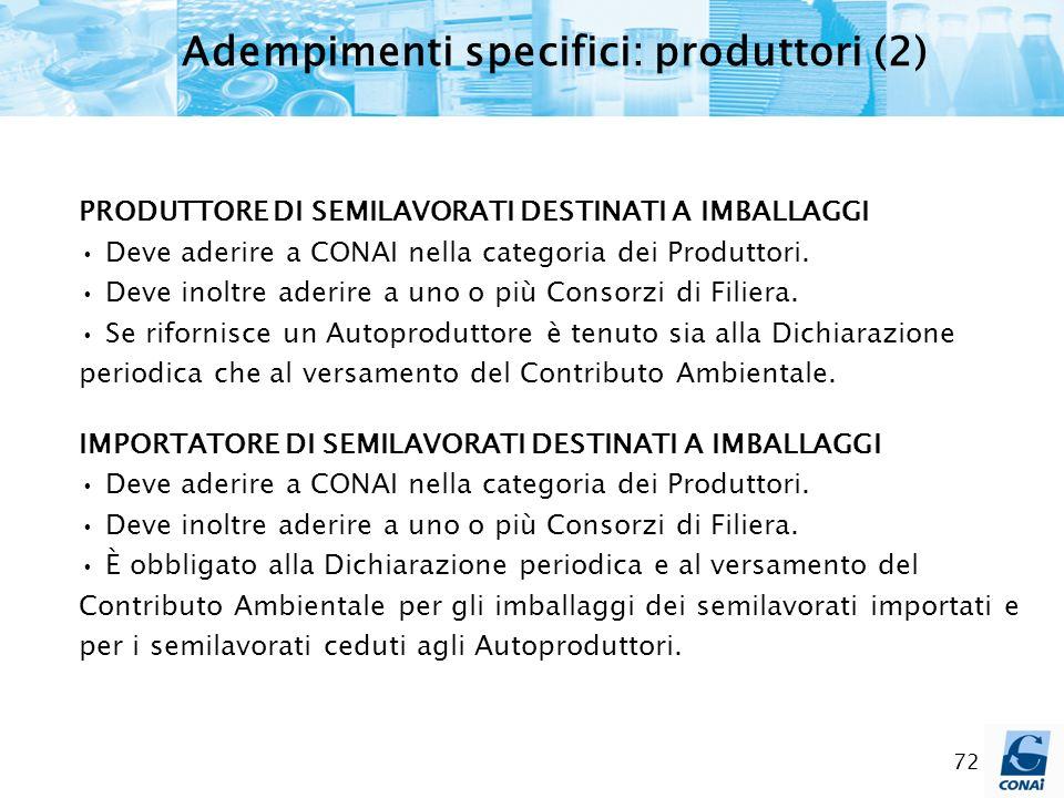 Adempimenti specifici: produttori (2)