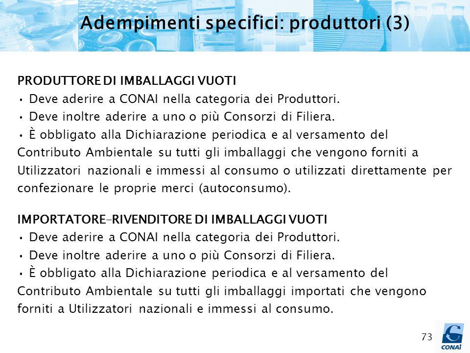 Adempimenti specifici: produttori (3)