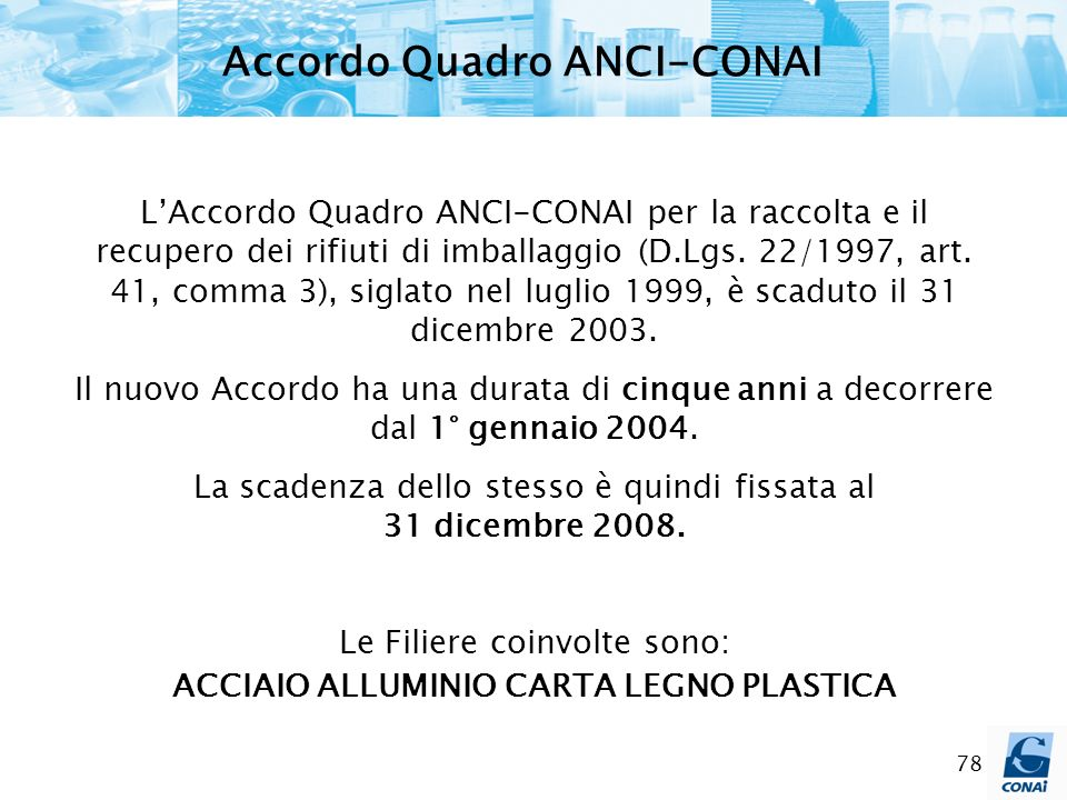 Accordo Quadro ANCI-CONAI ACCIAIO ALLUMINIO CARTA LEGNO PLASTICA