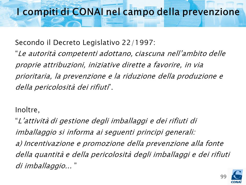 I compiti di CONAI nel campo della prevenzione