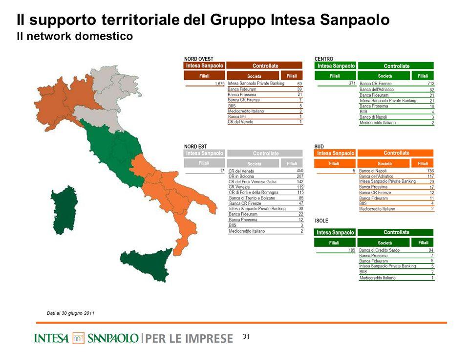 Il supporto territoriale del Gruppo Intesa Sanpaolo Il network domestico