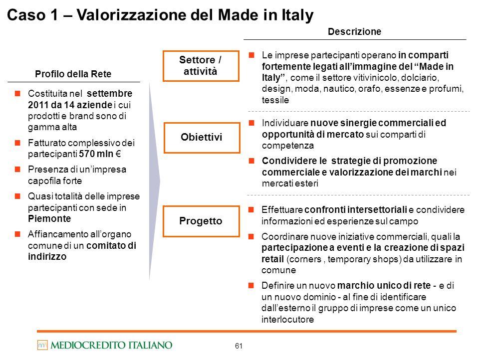 Caso 1 – Valorizzazione del Made in Italy