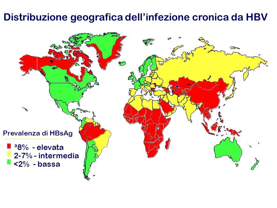 Distribuzione geografica dell'infezione cronica da HBV