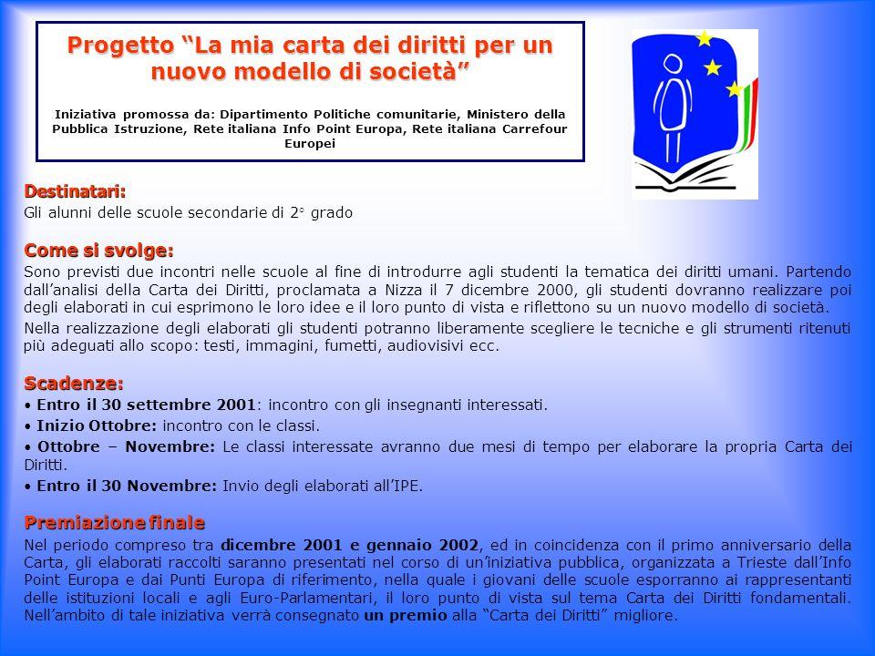 Progetto La mia carta dei diritti per un nuovo modello di società Iniziativa promossa da: Dipartimento Politiche comunitarie, Ministero della Pubblica Istruzione, Rete italiana Info Point Europa, Rete italiana Carrefour Europei