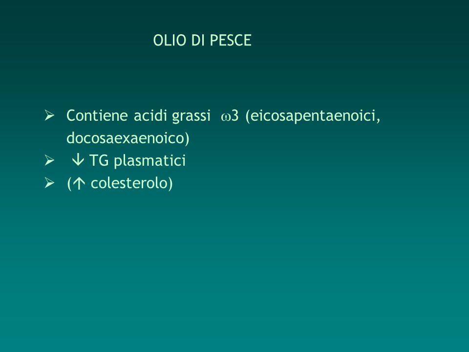 OLIO DI PESCE Contiene acidi grassi 3 (eicosapentaenoici, docosaexaenoico)  TG plasmatici.