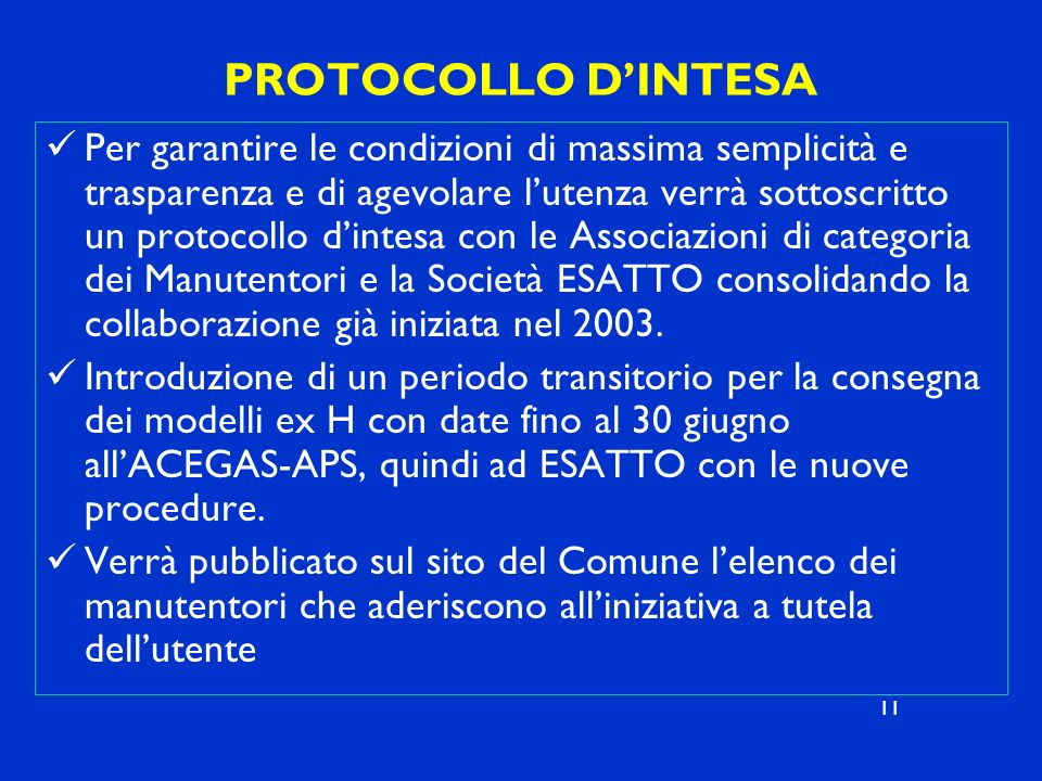 PROTOCOLLO D'INTESA