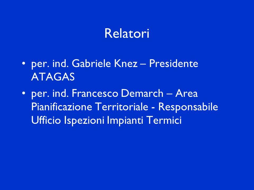 Relatori per. ind. Gabriele Knez – Presidente ATAGAS