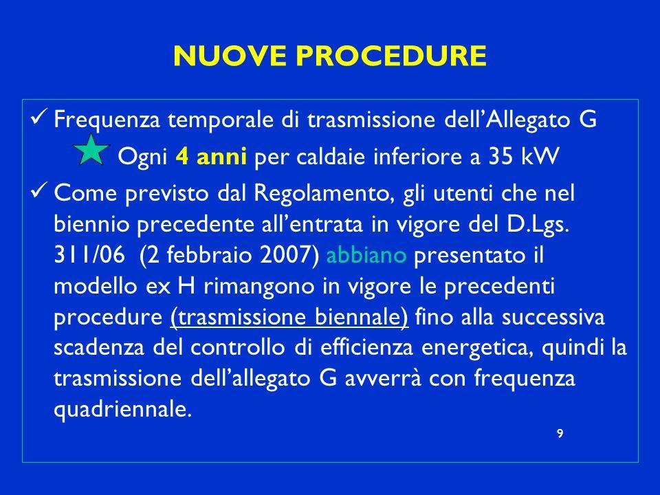 NUOVE PROCEDURE Frequenza temporale di trasmissione dell'Allegato G