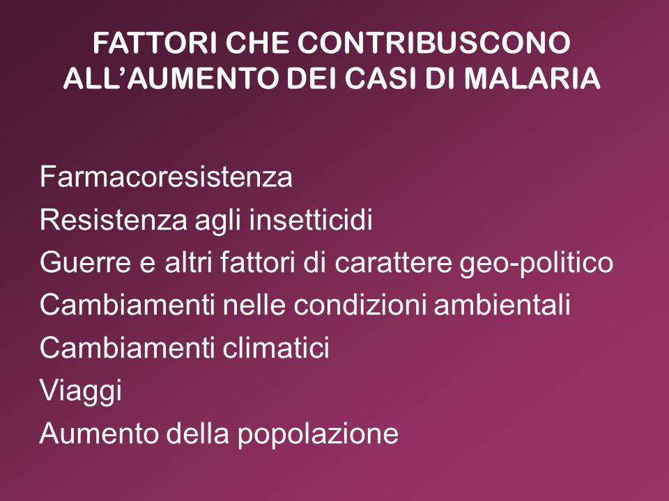FATTORI CHE CONTRIBUSCONO ALL'AUMENTO DEI CASI DI MALARIA