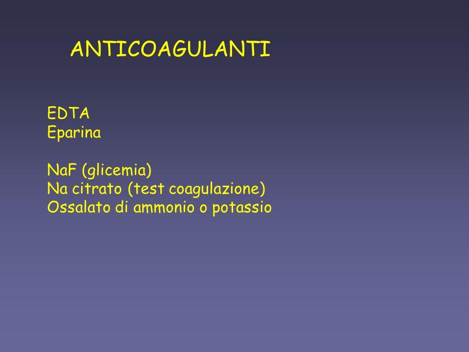 ANTICOAGULANTI EDTA Eparina NaF (glicemia)