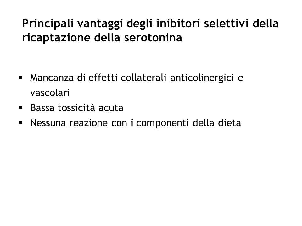 Principali vantaggi degli inibitori selettivi della ricaptazione della serotonina