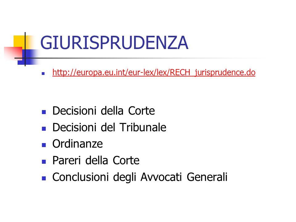 GIURISPRUDENZA Decisioni della Corte Decisioni del Tribunale Ordinanze