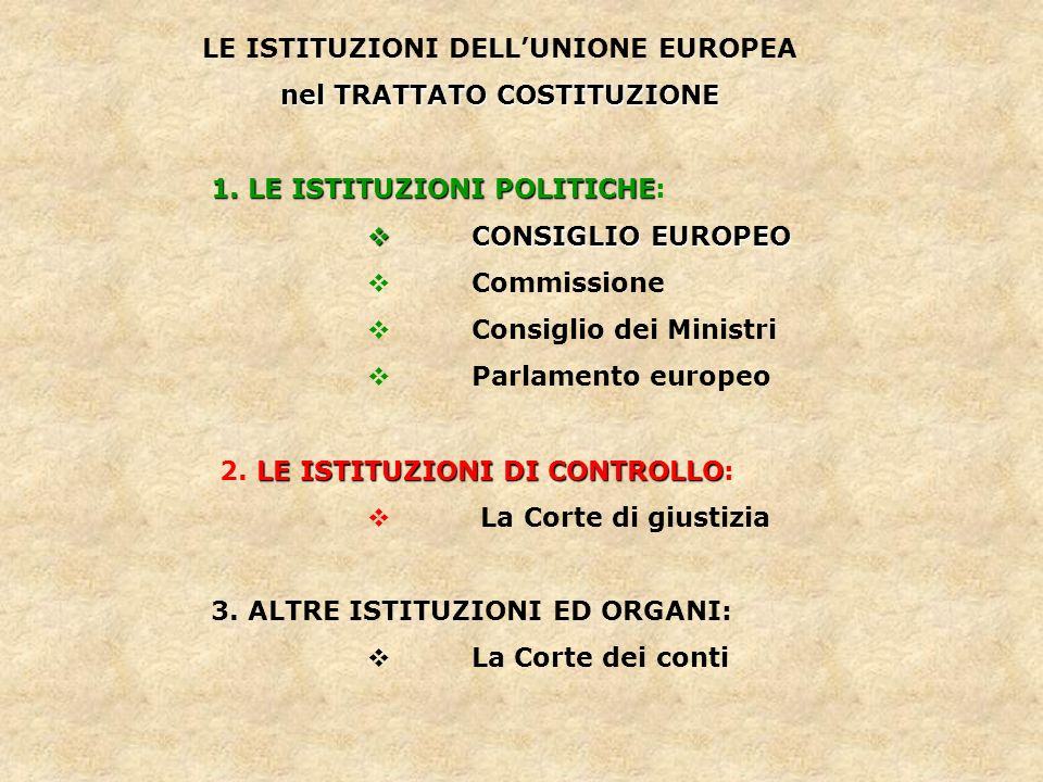 LE ISTITUZIONI DELL'UNIONE EUROPEA nel TRATTATO COSTITUZIONE