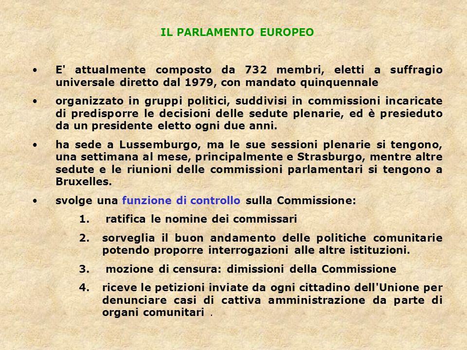 IL PARLAMENTO EUROPEO E attualmente composto da 732 membri, eletti a suffragio universale diretto dal 1979, con mandato quinquennale.