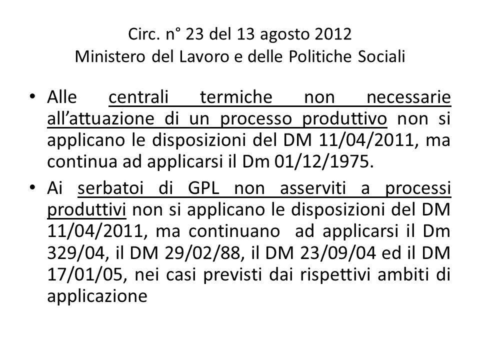 Circ. n° 23 del 13 agosto 2012 Ministero del Lavoro e delle Politiche Sociali