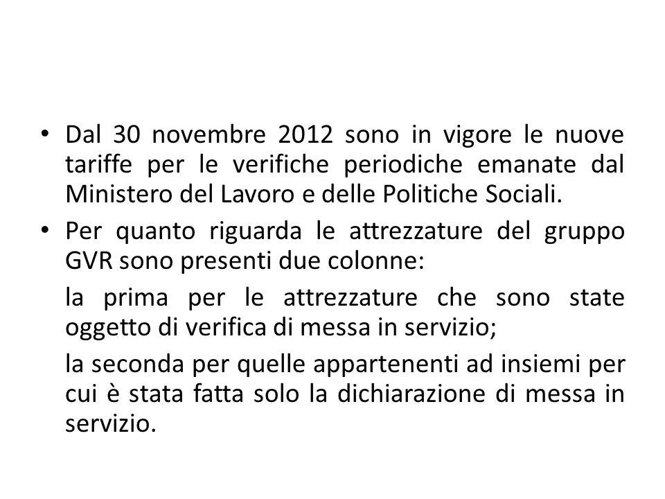 Dal 30 novembre 2012 sono in vigore le nuove tariffe per le verifiche periodiche emanate dal Ministero del Lavoro e delle Politiche Sociali.