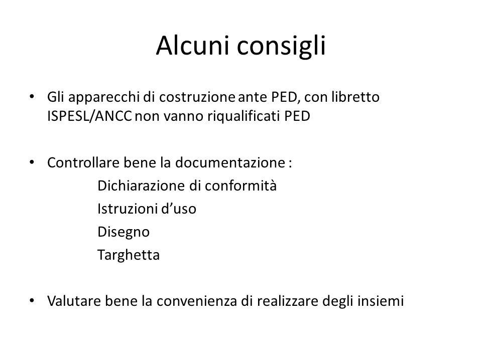 Alcuni consigli Gli apparecchi di costruzione ante PED, con libretto ISPESL/ANCC non vanno riqualificati PED.