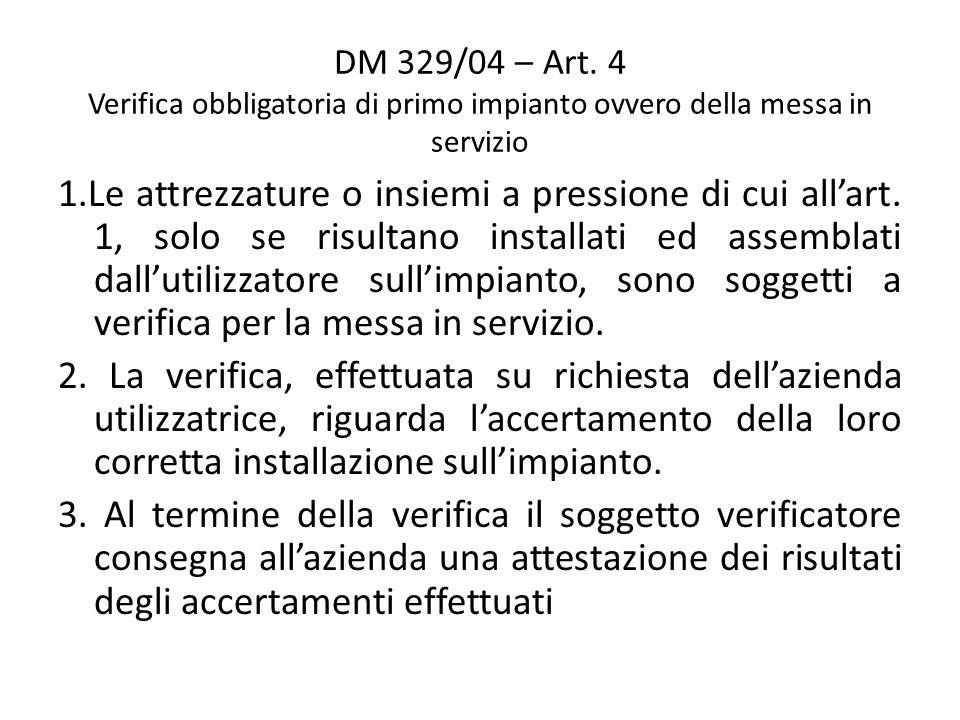 DM 329/04 – Art. 4 Verifica obbligatoria di primo impianto ovvero della messa in servizio