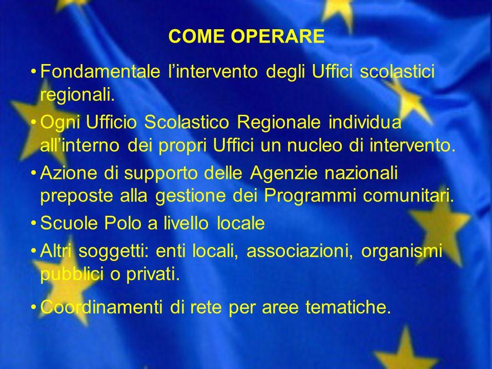 COME OPERARE Fondamentale l'intervento degli Uffici scolastici regionali.