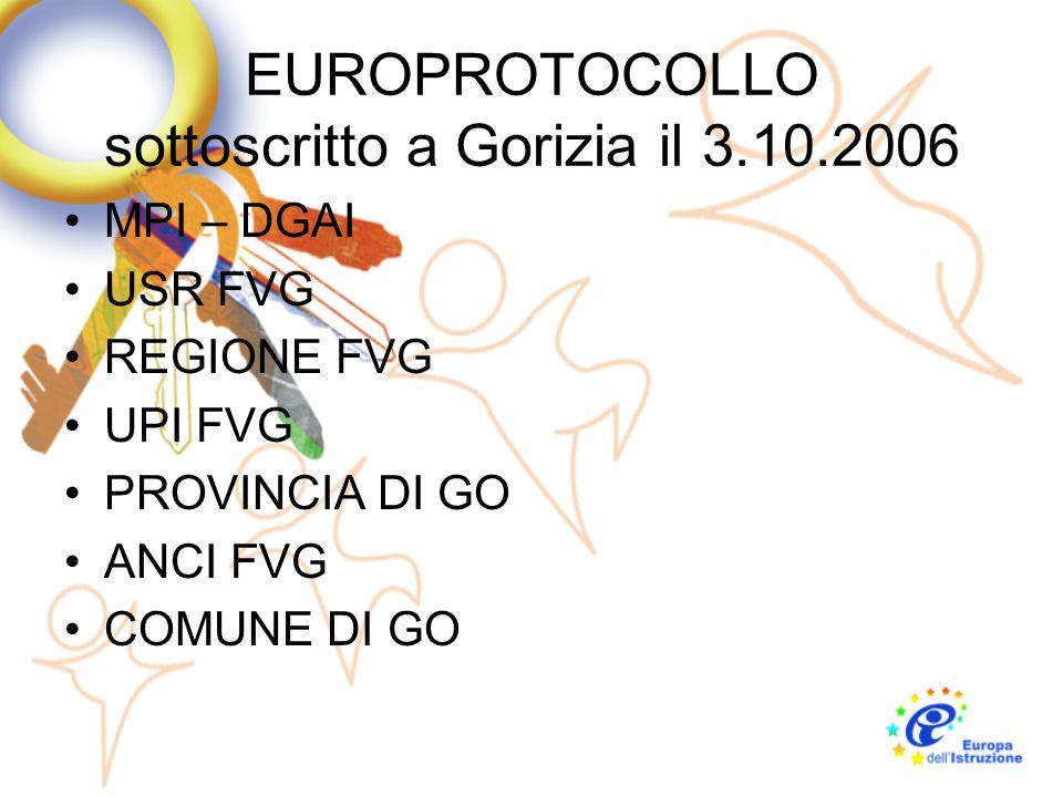 EUROPROTOCOLLO sottoscritto a Gorizia il 3.10.2006