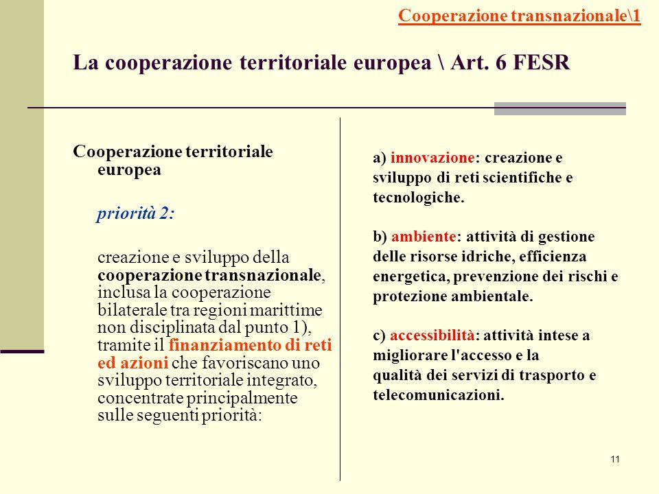 La cooperazione territoriale europea \ Art. 6 FESR