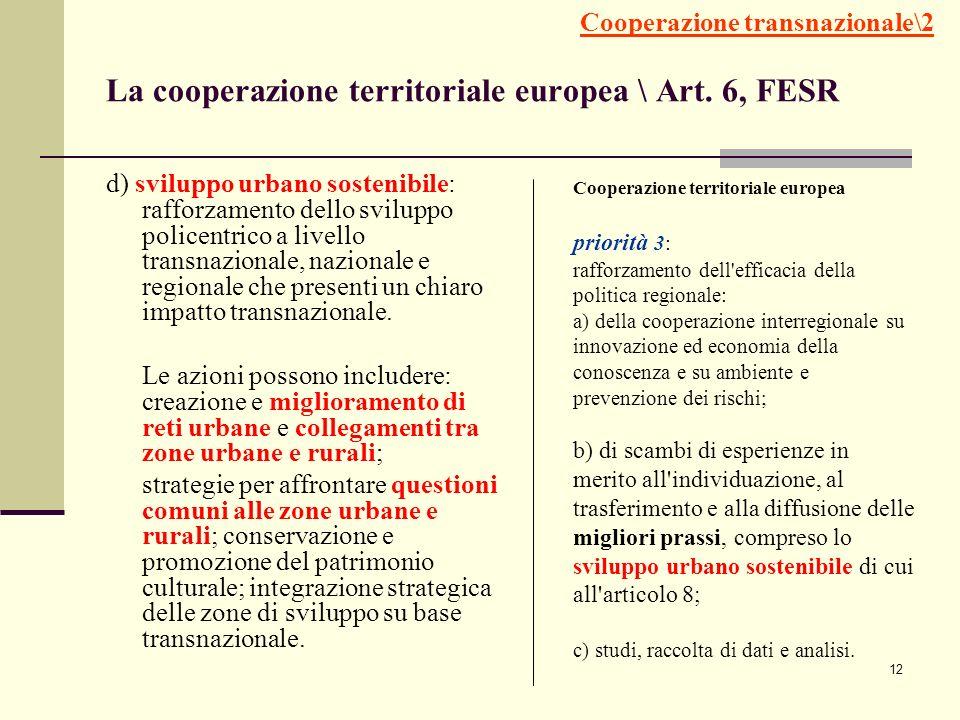 La cooperazione territoriale europea \ Art. 6, FESR