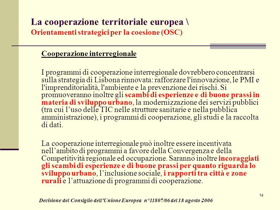 La cooperazione territoriale europea \ Orientamenti strategici per la coesione (OSC)