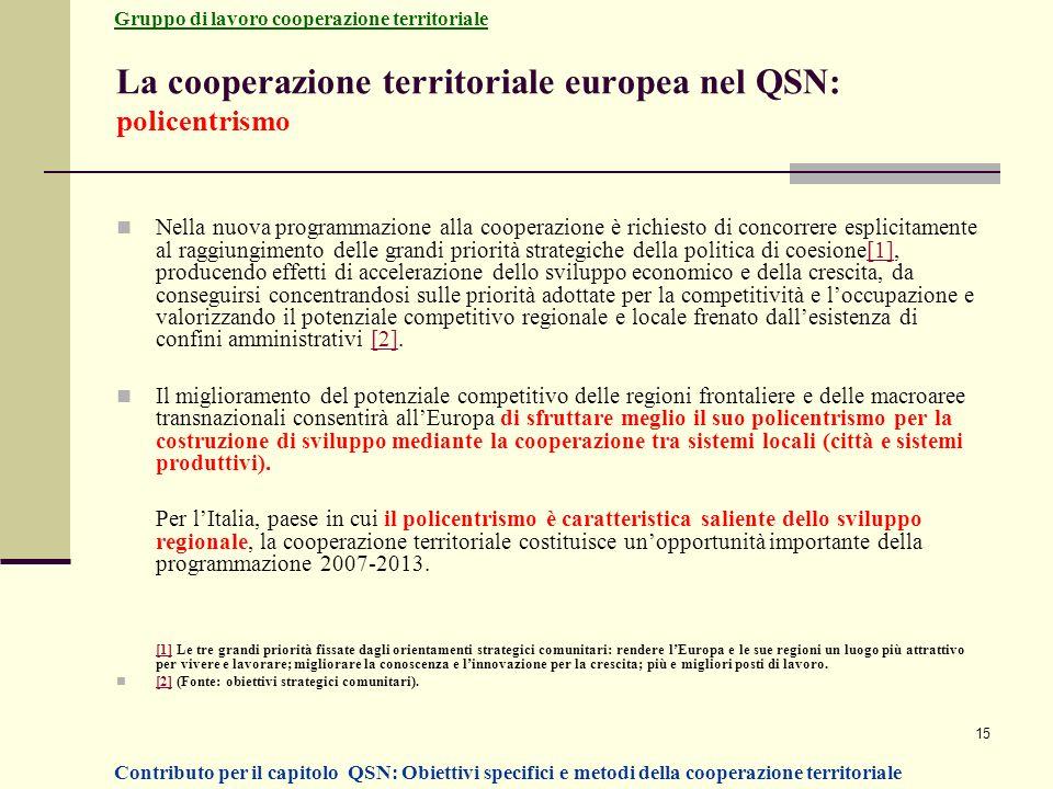 La cooperazione territoriale europea nel QSN: policentrismo