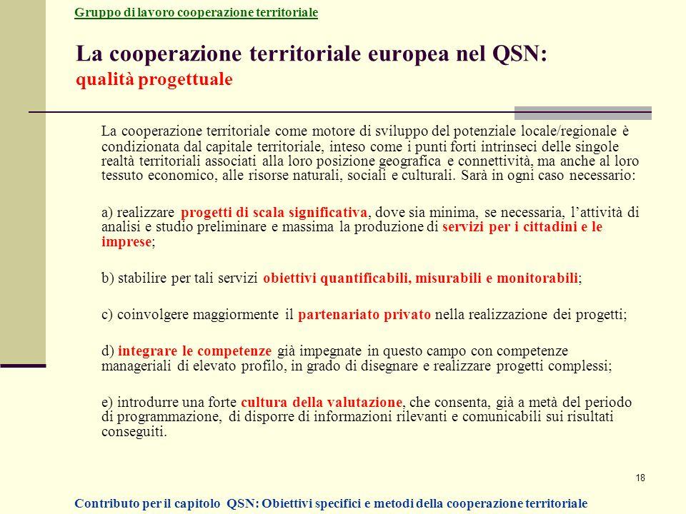 La cooperazione territoriale europea nel QSN: qualità progettuale