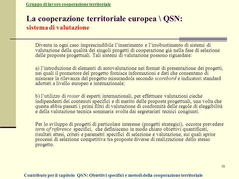 La cooperazione territoriale europea \ QSN: sistema di valutazione