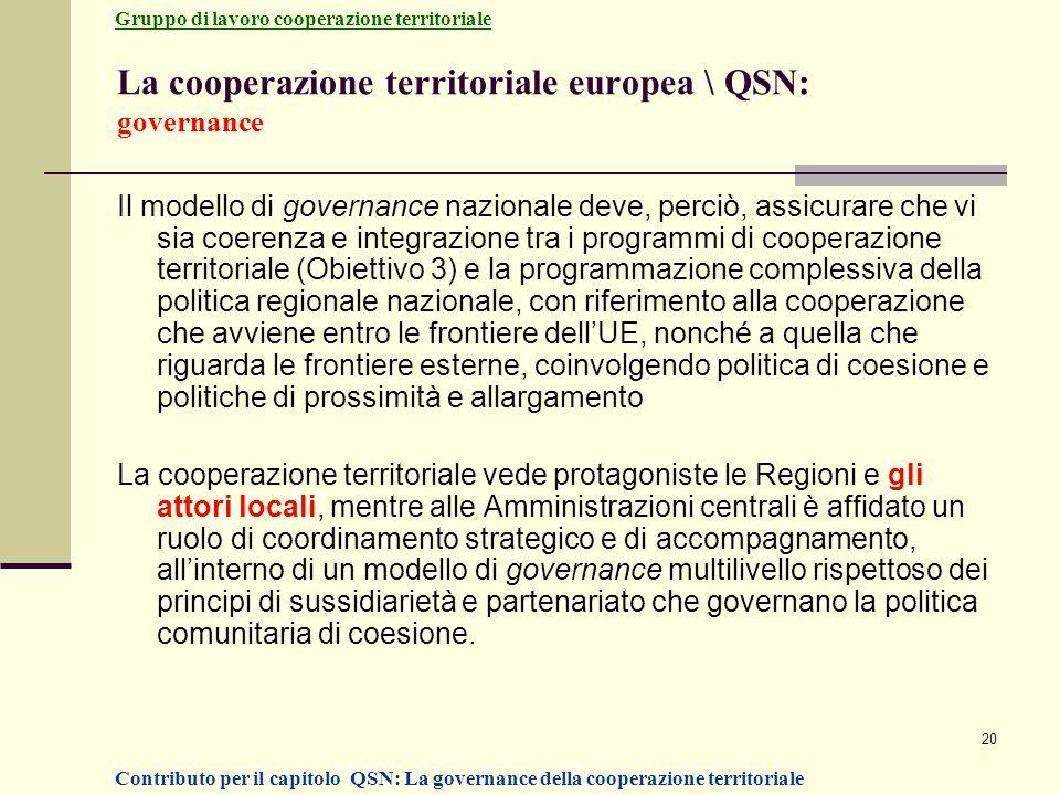 La cooperazione territoriale europea \ QSN: governance