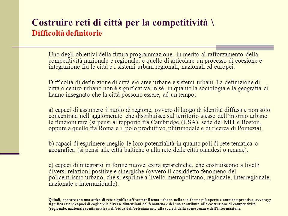 Costruire reti di città per la competitività \ Difficoltà definitorie