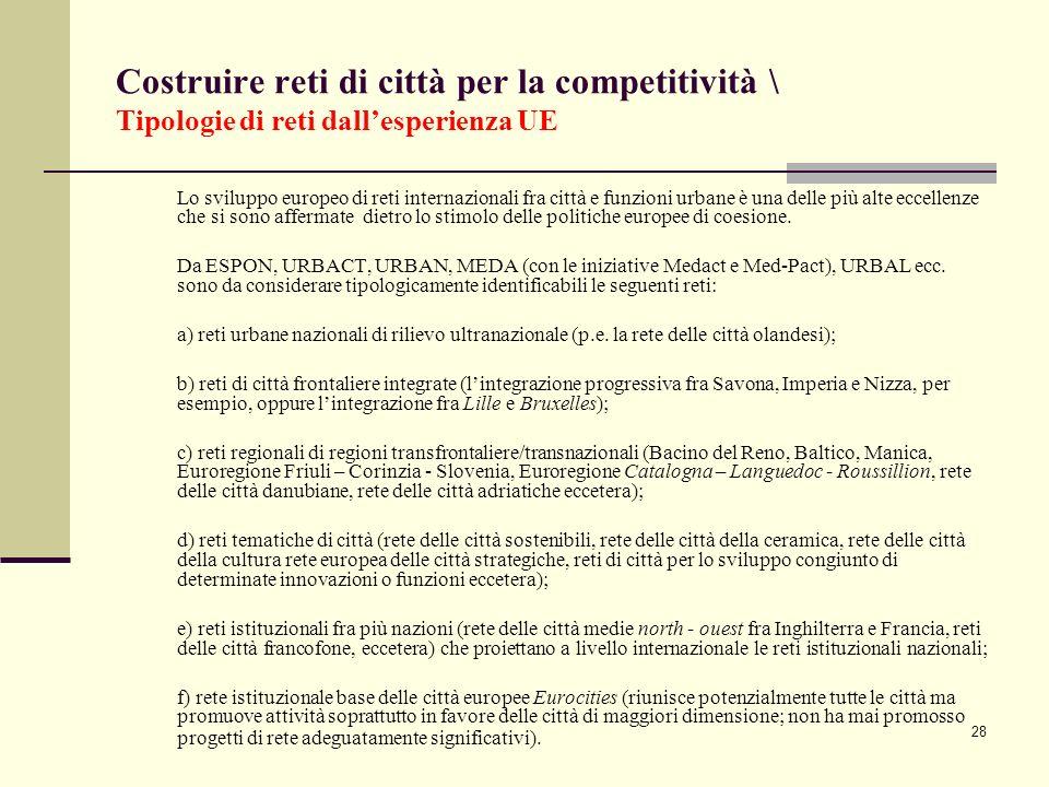 Costruire reti di città per la competitività \ Tipologie di reti dall'esperienza UE