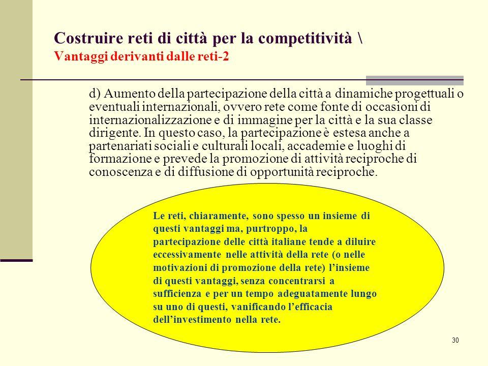 Costruire reti di città per la competitività \ Vantaggi derivanti dalle reti-2