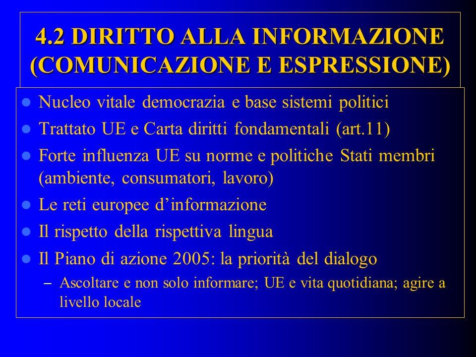 4.2 DIRITTO ALLA INFORMAZIONE (COMUNICAZIONE E ESPRESSIONE)