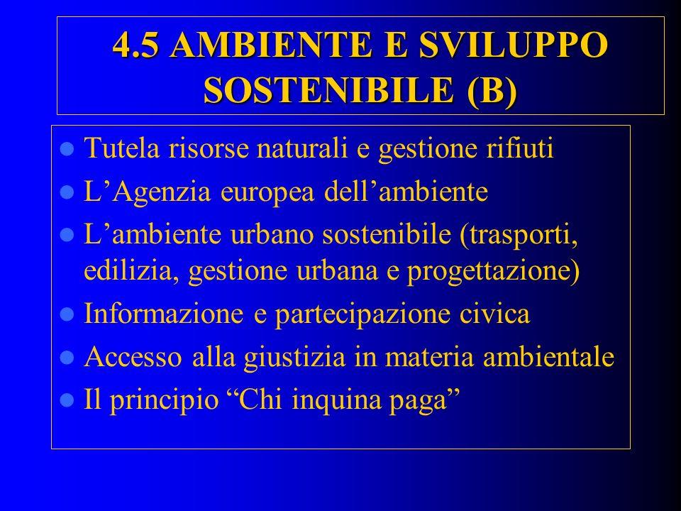 4.5 AMBIENTE E SVILUPPO SOSTENIBILE (B)