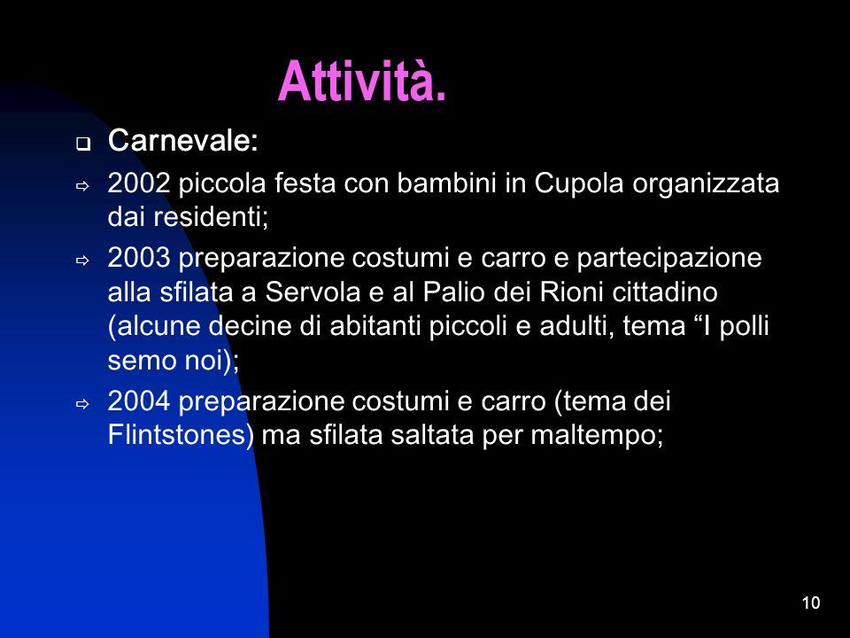 Attività.Carnevale: 2002 piccola festa con bambini in Cupola organizzata dai residenti;