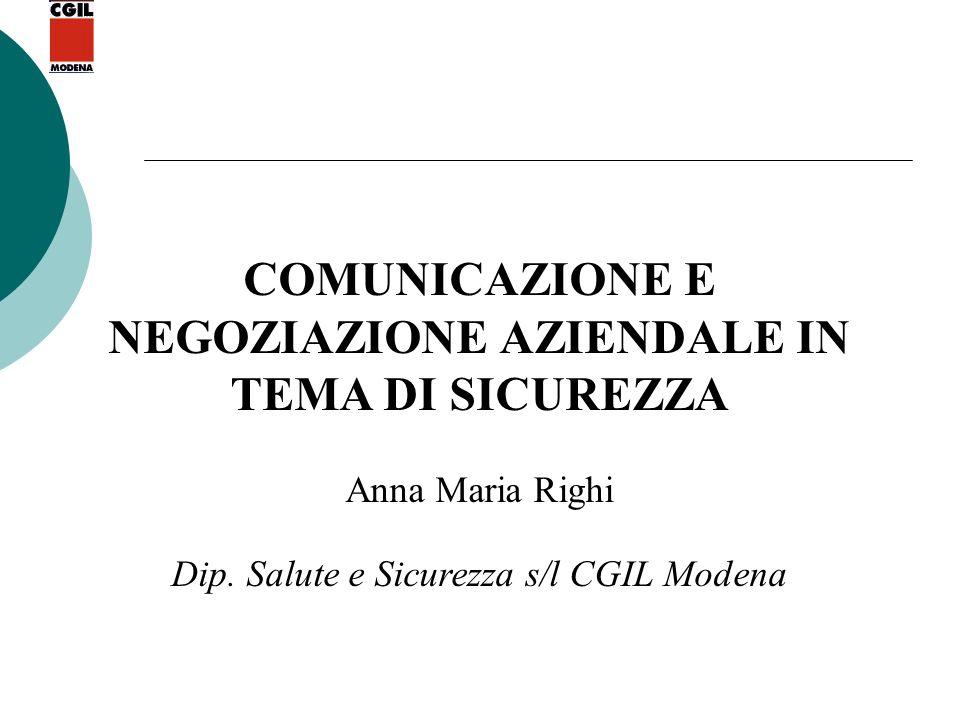 COMUNICAZIONE E NEGOZIAZIONE AZIENDALE IN TEMA DI SICUREZZA