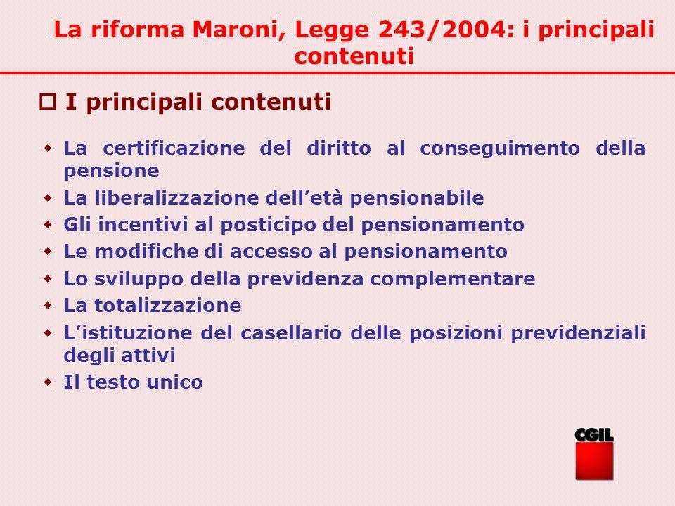 La riforma Maroni, Legge 243/2004: i principali contenuti